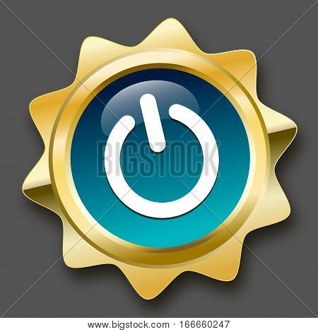On seal or icon with start symbol. Glossy golden seal or button with stars and turquoise color.