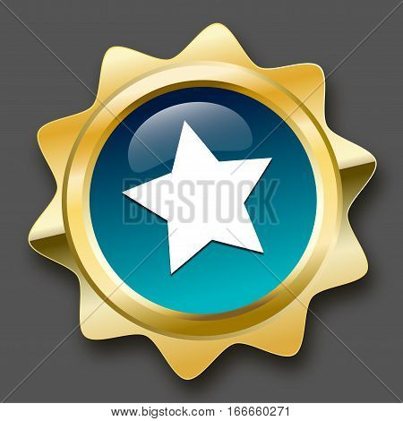 Finest quality seal or icon with star symbol. Glossy golden seal or button with star and turquoise color.