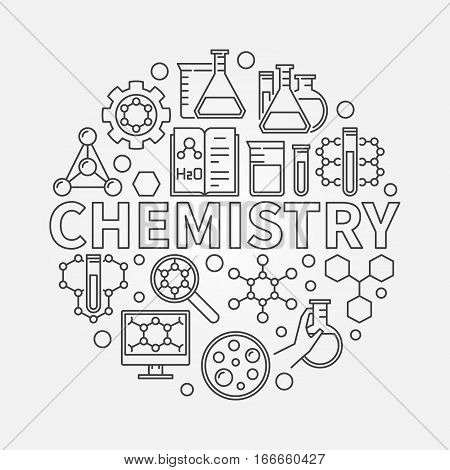 Chemistry line round illustration. Vector outline science symbol made with word CHEMISTRY and icons of lab glass and formulas