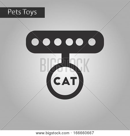 black and white style icon of cat collar