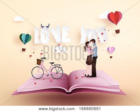 Illustration of love and valentine's Day,  with couple standing hugging on open book with pink bicycle .paper artand origami style.