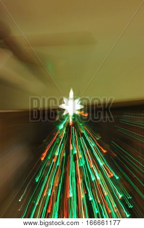 Christmas Tree red and green holiday lights streaming in downward motion