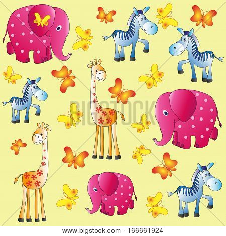 Fun zoo. Children's picture. Elephants, giraffes and zebras. Cartoon characters. Design for pattern, textiles, children's book, the background image.