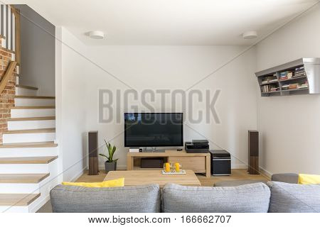 Open Living Room With Tv