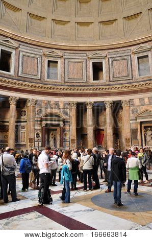 Tourists Visiting The Pantheon In Rome, Italy