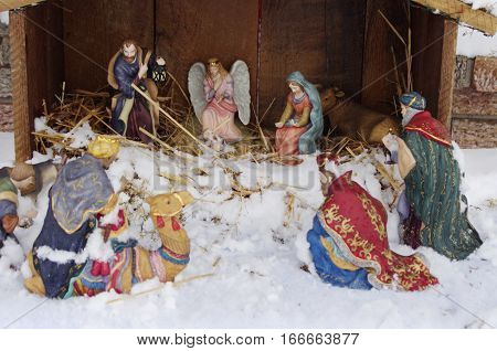 Miniature Stable Christmas Nativity Scene in snow