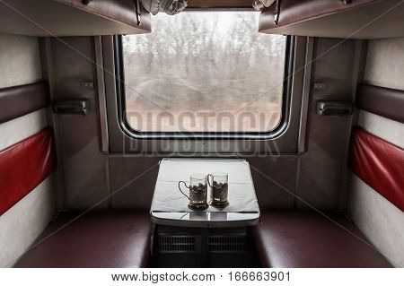 Inside view of corridor coach wagon of train
