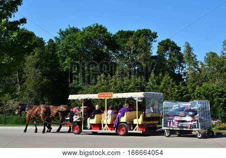 MACKINAC ISLAND - JULY 2016: Passengers and their luggage are brought to the hotel in a horse drawn taxi.