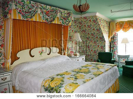 MACKINAC ISLAND - JULY, 2016: A typical room at the Grand Hotel with vintage decor