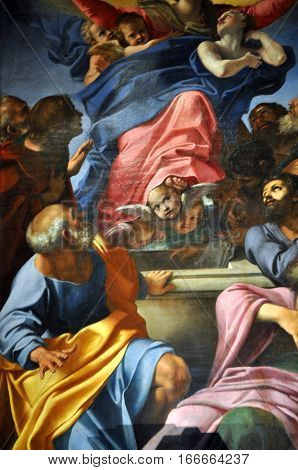 Caravaggio And Carracci Paintings In Cerasi Chapel. Basilica Of Santa Maria Del Popolo