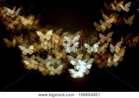 Flock of golden yellow monarch shaped butterflies flying in an upwards formation on a dark black background