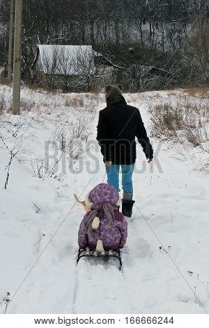 Girl Walking In Winter