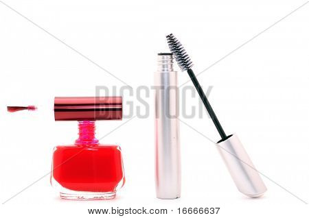 Red nail polish and silvery mascara
