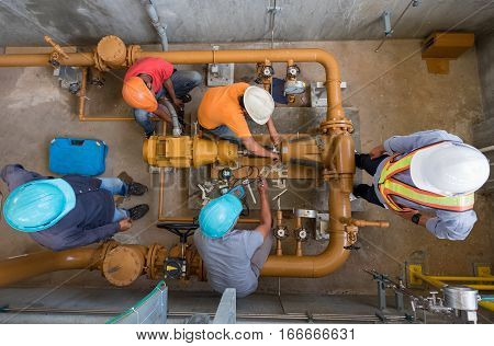 Engineer, Technician And Worker Are Alignment Check Of Fuel Oil Pump