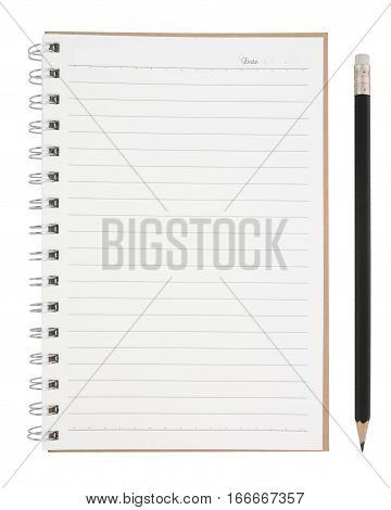 Open Blank Page Notebook And Pencil Isolated