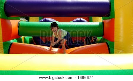 Four Year Old On A Bouncy Toy
