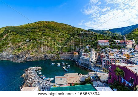 Vernazza one of five villages in Cinque Terre National Park and is a UNESCO World Heritage Site on Italian Riviera. View from Doria Castle
