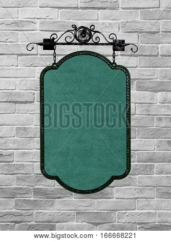 Old wooden sign on the chains. Isolated on White brick wall background