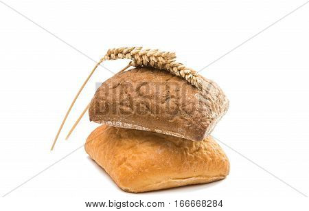 Fresh Italian bread ciabatta with ears of wheat isolated on white background