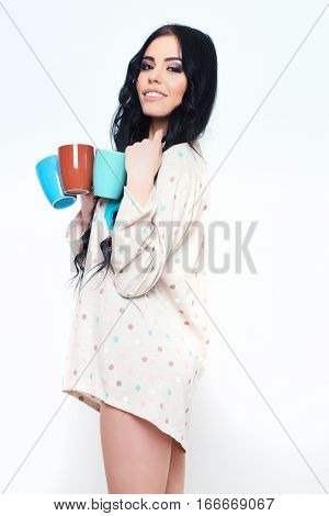 Smiling Pretty Sexy Girl With Coffee Cups Isolated On White