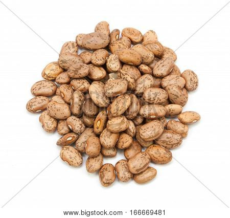 Group pinto beans isolated on white background