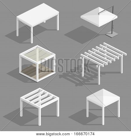 Set of modern beach gazebos and umbrellas for terraces and spas. Vector graphics