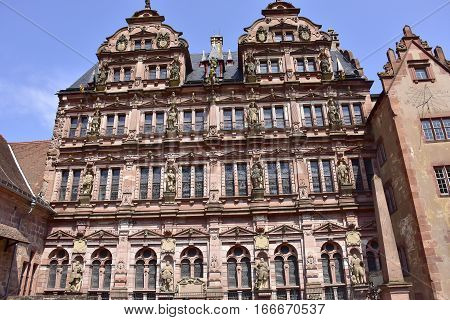 The Castle Heidelberg in Germany with a blue sky