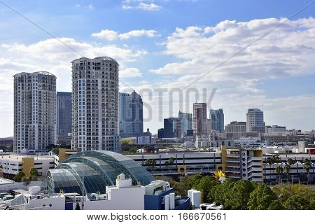 Skyline of Tampa Florida with clouds in the background