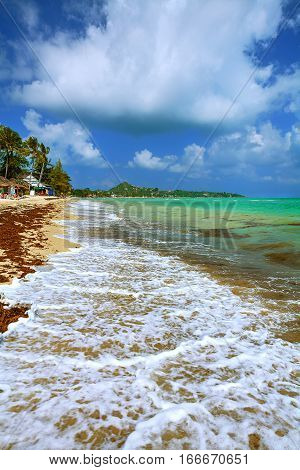 Shore sandy beach and turquoise sea under blue sky with clouds.