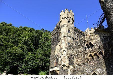 Castle Rheinstein in Germany with blue sky.