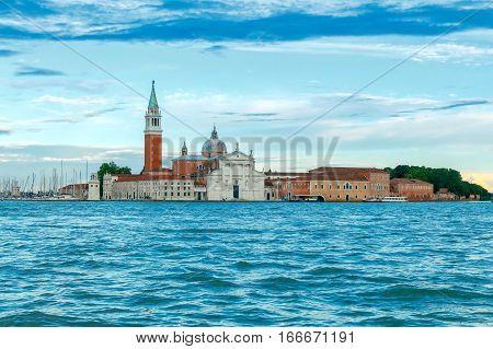 View of the Church of San Giorgio Maggiore on the island in the Venetian lagoon.