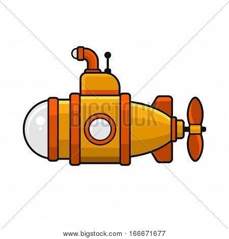 Yellow Submarine with Periscope Icon, Flat Style Design. Vector illustration