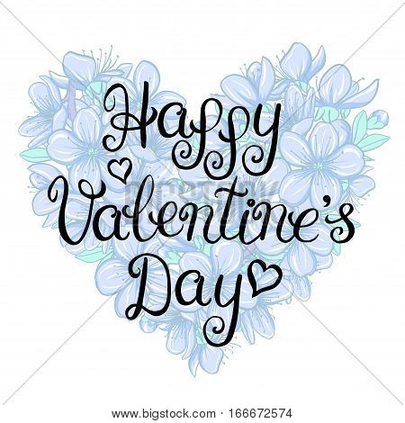 Happy valentines day card with lettering on a floral heart background