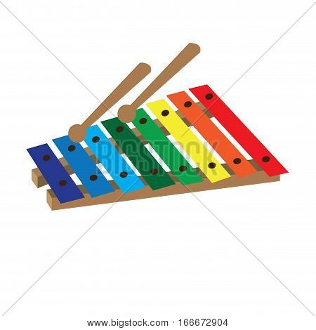 Isolated xylophone toy on a white background, Vector illustration