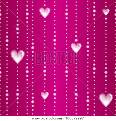 Glassy beads and hearts on a threads isolated on pink background. Vector seamless pattern