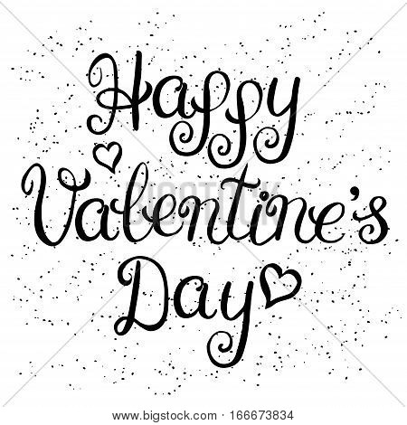 Happy valentines day card with lettering on a white background