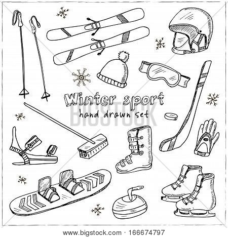 Winter Fun Sports, Activities and Accessories Hand-Drawn Notebook Doodles Set with Sled, Skis, Skates, Snowboard, Snowflake and More