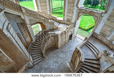 Italy Cilento Padula the flight of steps of the great cloister of the Certosa of San Lorenzo