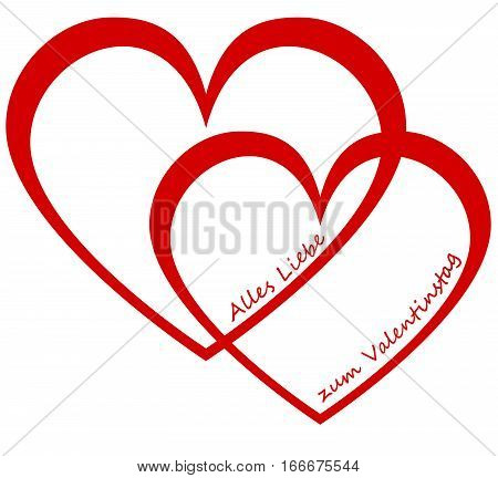Two hearts and german text for Happy Valentine`s Day