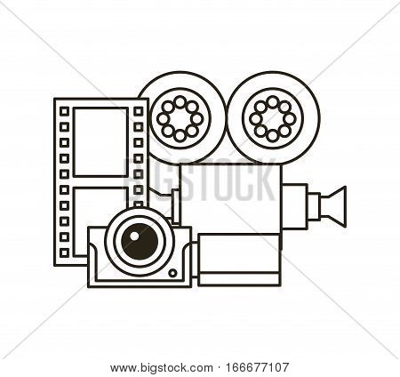 film reel, camera and video recorder over white background. vector illustration