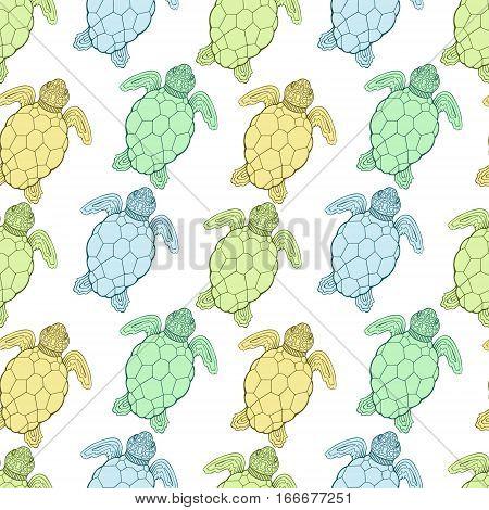 Sea turtle vector seamless pattern. Stylized geometrical ocean turtles. Marine animals background.