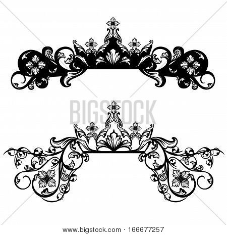 royal crown among floral decor - black and white vector design