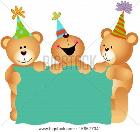 Scalable vectorial image representing a birthday teddy bears with signboard, isolated on white.