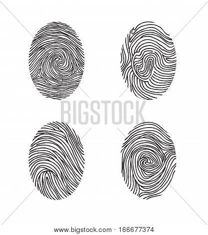 Fingerprint Set. Abstract Lswirl Line Decor Elements With Fingers Print