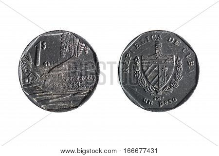 Cuban Peso On White Background