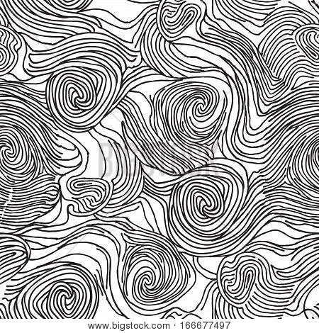 Abstract swirl line doodle seamless pattern. Textured black and white background