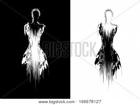 Silhouette of woman in evening dress .