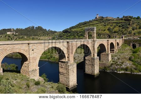 Roman bridge over the Tajo river in Alcantara Caceres province Extremadura Spain