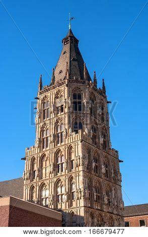 Tower City Hall. Cologne. Germany. At the Town Hall Square are all great celebrations and Cologne event. And the balls and receptions are held in the Town Hall building.