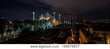 Panoramic view on night Hagia Sophia Museum Istanbul